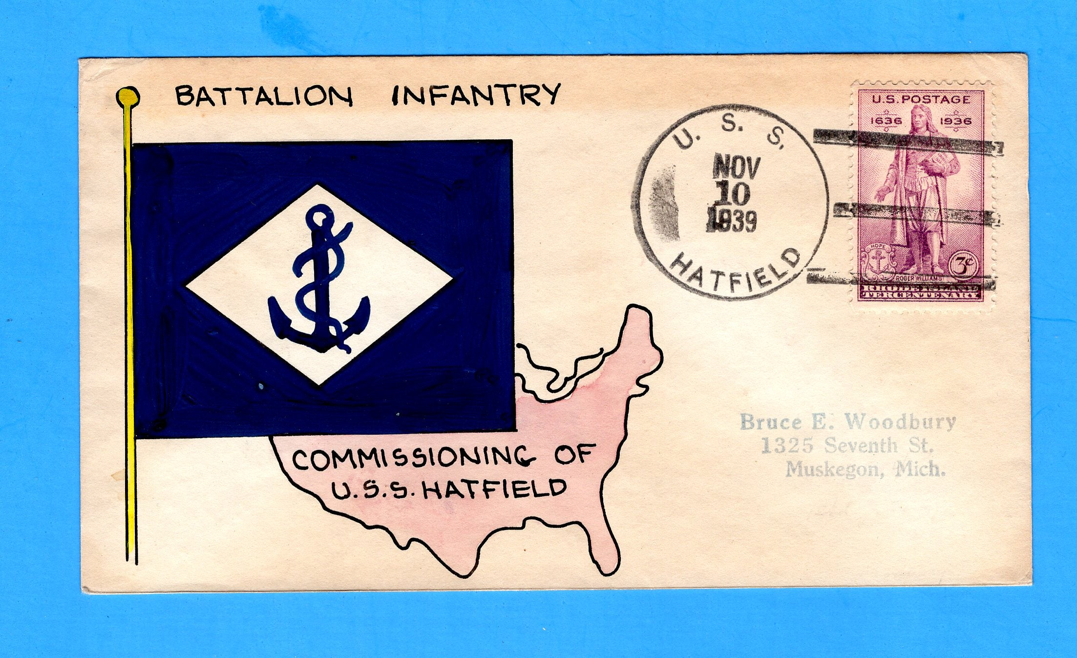 USS Hatfield DD-231 First Day Postal Service November 10, 1939 - Mae Weigand Hand Painted Cachet
