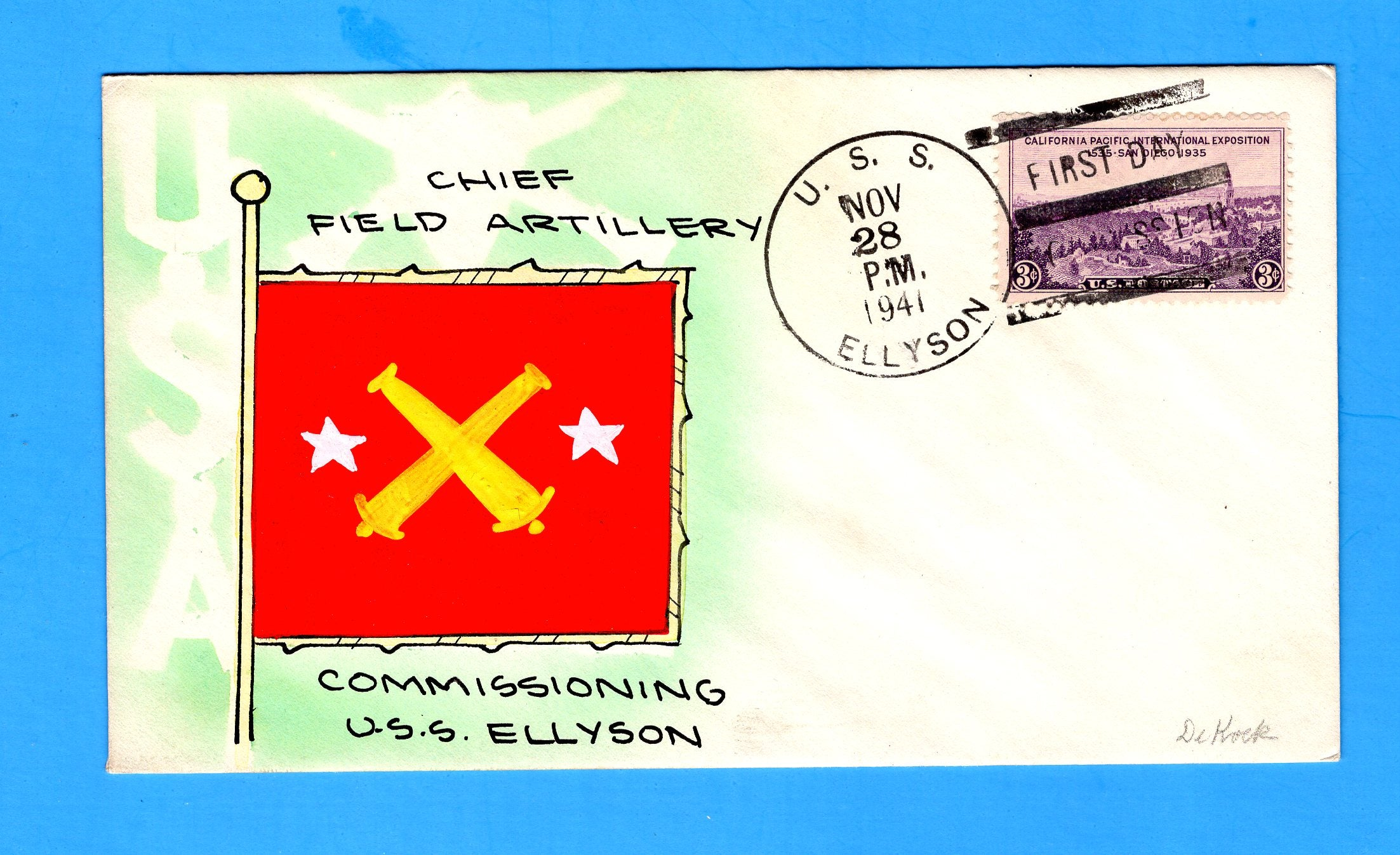 USS Ellyson DD-454 Commissioned November 28, 1941 - Mae Weigand Hand Painted Cachet