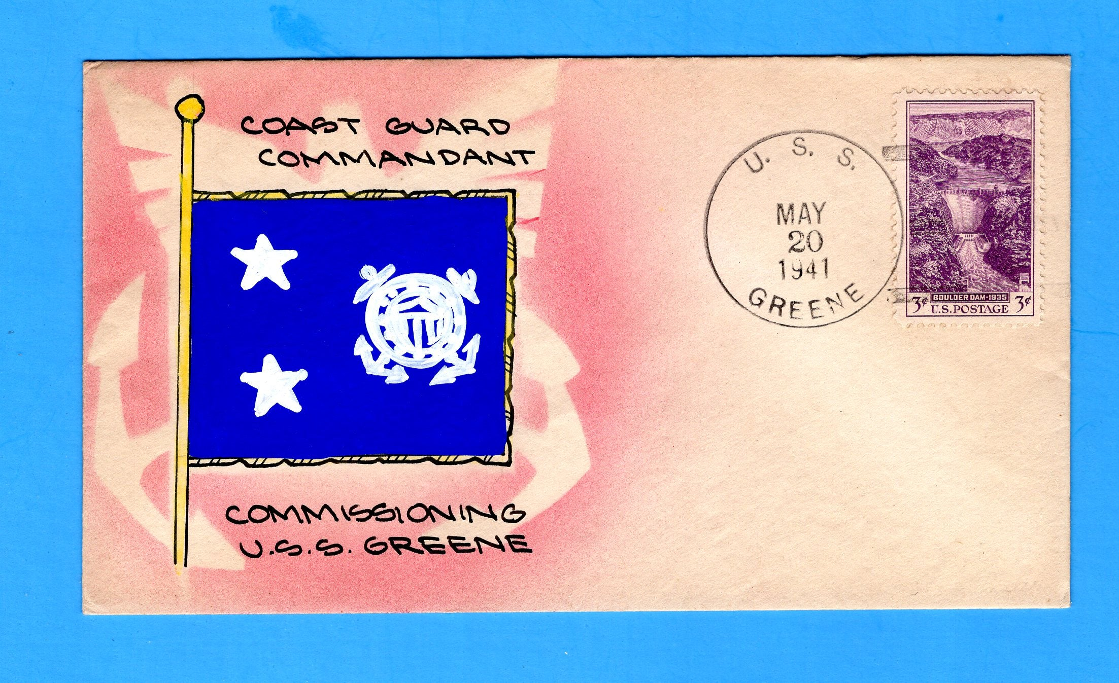 USS Greene APD-36 First Day Postal Service May 20, 1941 - Mae Weigand Hand Painted Cachet