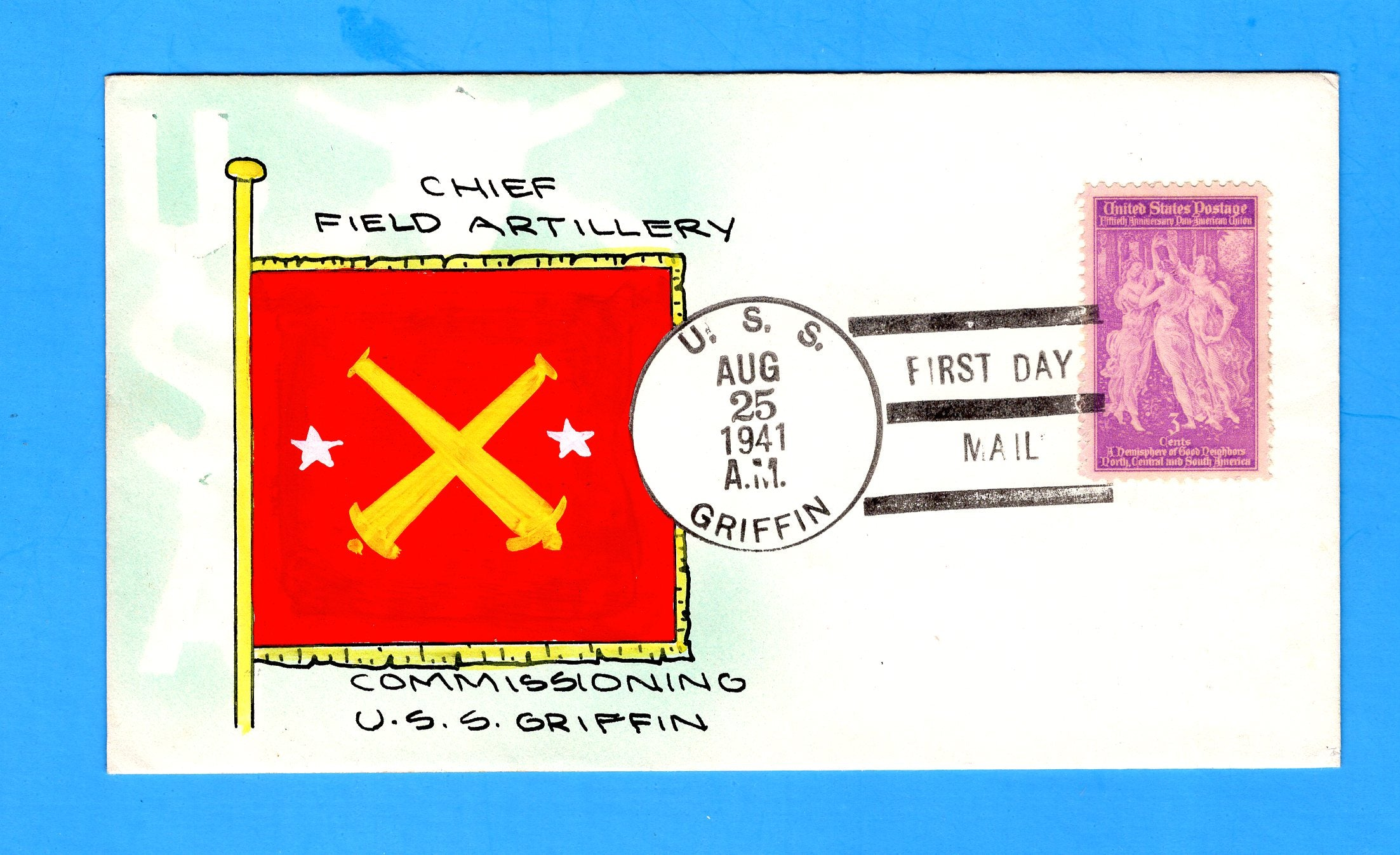 USS Griffin AS-13 First Day Postal Service August 25, 1941 - Mae Weigand Hand Painted Cachet