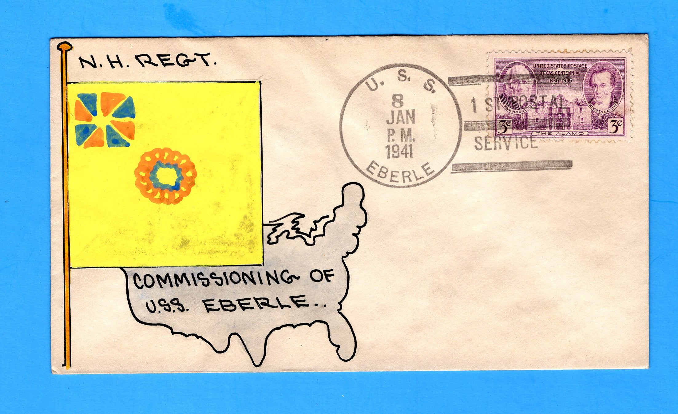 USS Eberle DD-430 First Day Postal Service January 8, 1941 - Mae Weigand Hand Painted Cachet