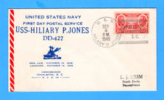 USS Hilary P. Jones DD-427 Commissioned and First Day Postal Service September 6, 1940