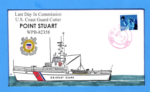 USCGC Point Stuart WPB-82358 Last Day in Commission May 1, 2001 - Hand Drawn and Colored Cachet by Bill Everett