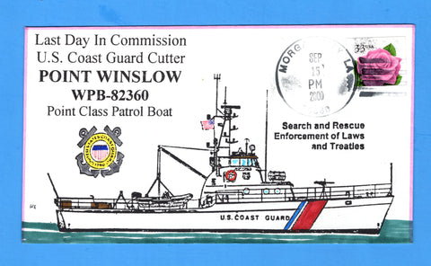 USCGC Point Winslow WPB-82360 Last Day in Commission September 15, 2000 - Hand Drawn and Colored Cachet by Bill Everett