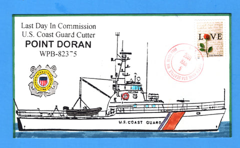 USCGC Point Doran WPB-82375 Last Day in Commission March 6, 2001 - Hand Drawn and Colored Cachet by Bill Everett