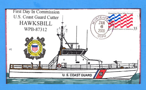 USCGC Hawksbill WPB-87312 Commissioned January 6, 2000 - Hand Drawn and Colored Cachet by Bill Everett