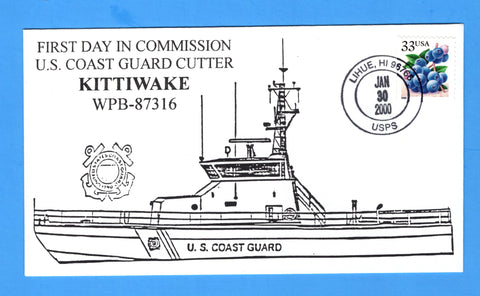 USCGC Kittiwake WPB-87316 Commissioned January 30, 2000 - Cachet by Bill Everett