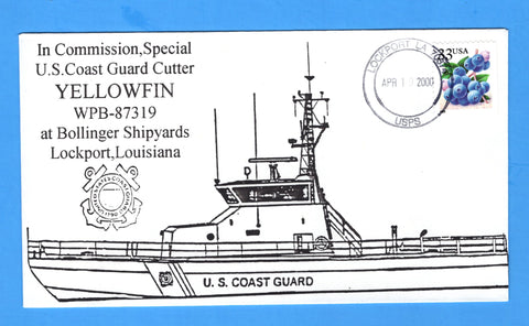 USCGC Yellowfin WPB-87319 In Commission, Special April 10, 2000 - Cachet by Bill Everett