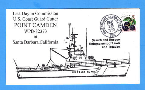 USCGC Point Camden WPB-82373 Last Day in Commission December 10, 1999 - Cachet by Bill Everett