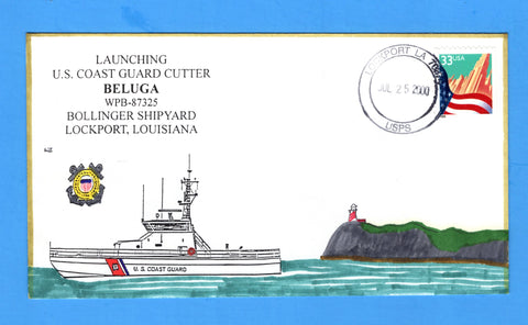 USCGC Beluga WPB-87325 Launched July 25, 2000 - Hand Drawn and Colored Cachet by Bill Everett
