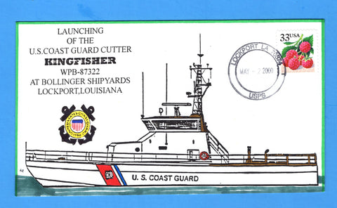 USCGC Kingfisher WPB-87322 Launched May 2, 2000 - Hand Drawn and Colored Cachet by Bill Everett