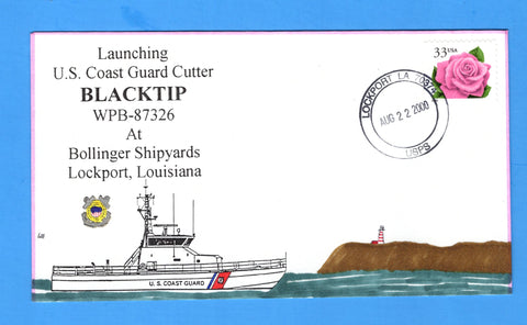 USCGC Blacktip WPB-87326 Launched August 22, 2000 - Hand Drawn and Colored Cachet by Bill Everett