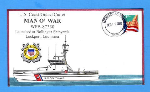 USCGC Man O'War WPB-87330 Launched December 12, 2000 - Hand Drawn and Colored Cachet by Bill Everett