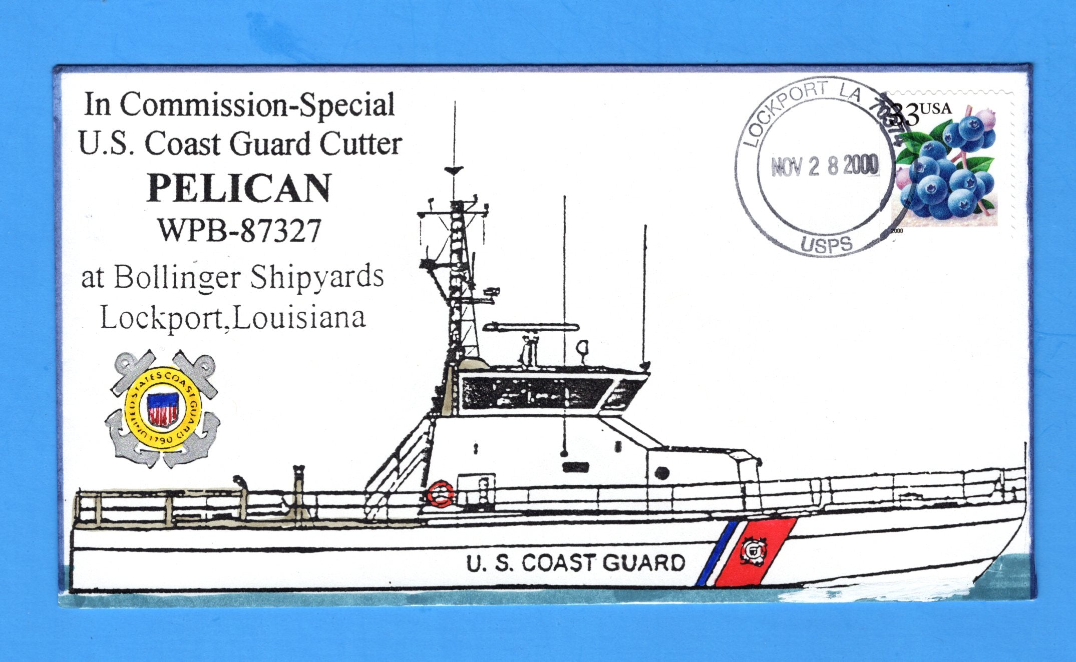 USCGC Blacktip WPB-87327 in Commission, Special November 28, 2000 - Hand Drawn and Colored Cachet by Bill Everett