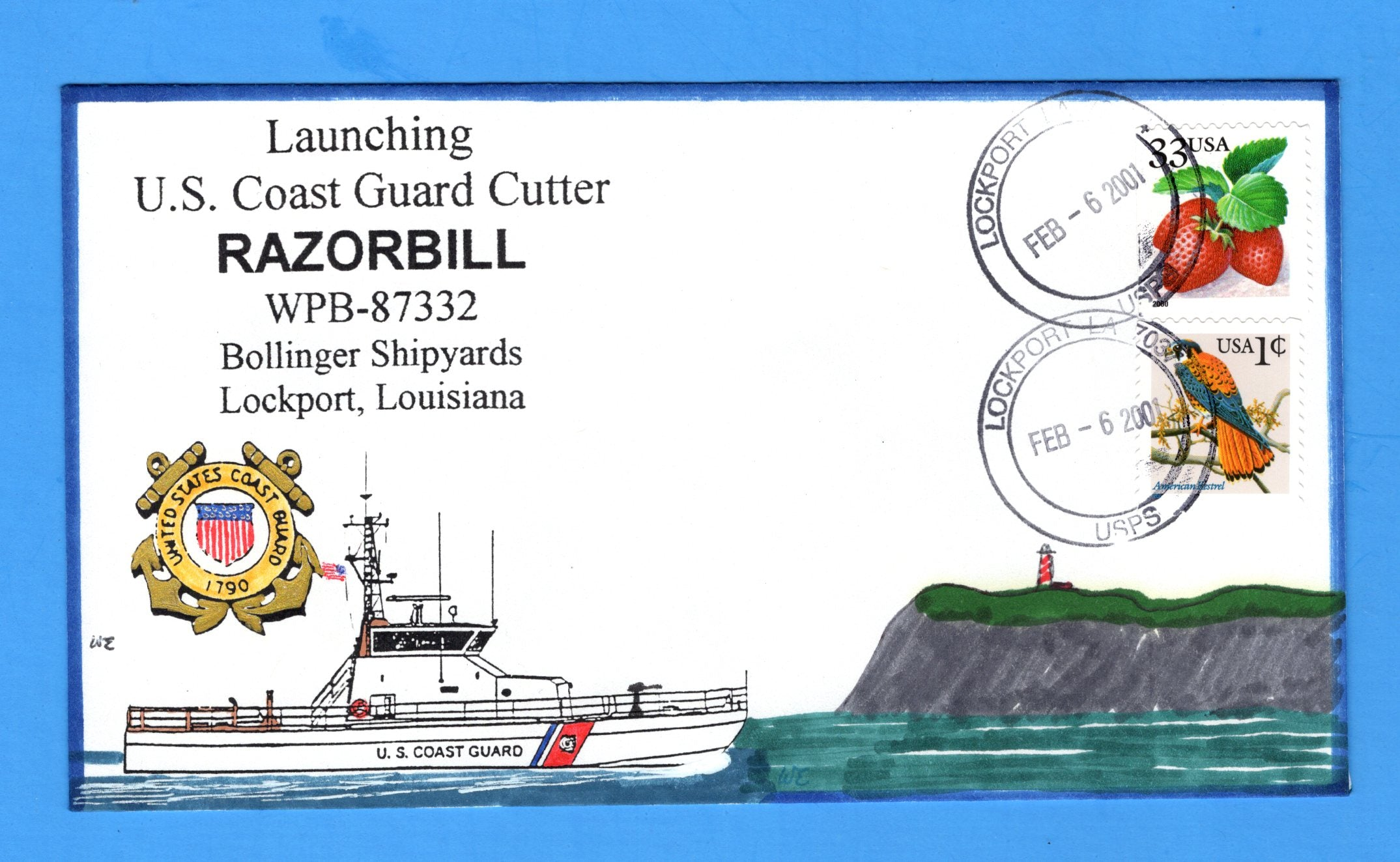 USCGC Razorbill WPB-87332 Launching February 6, 2001- Hand Drawn and Colored Cachet by Bill Everett