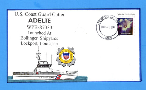 USCGC Adelie WPB-87333 Launched March 6, 2001 - Hand Drawn and Colored Cachet by Bill Everett