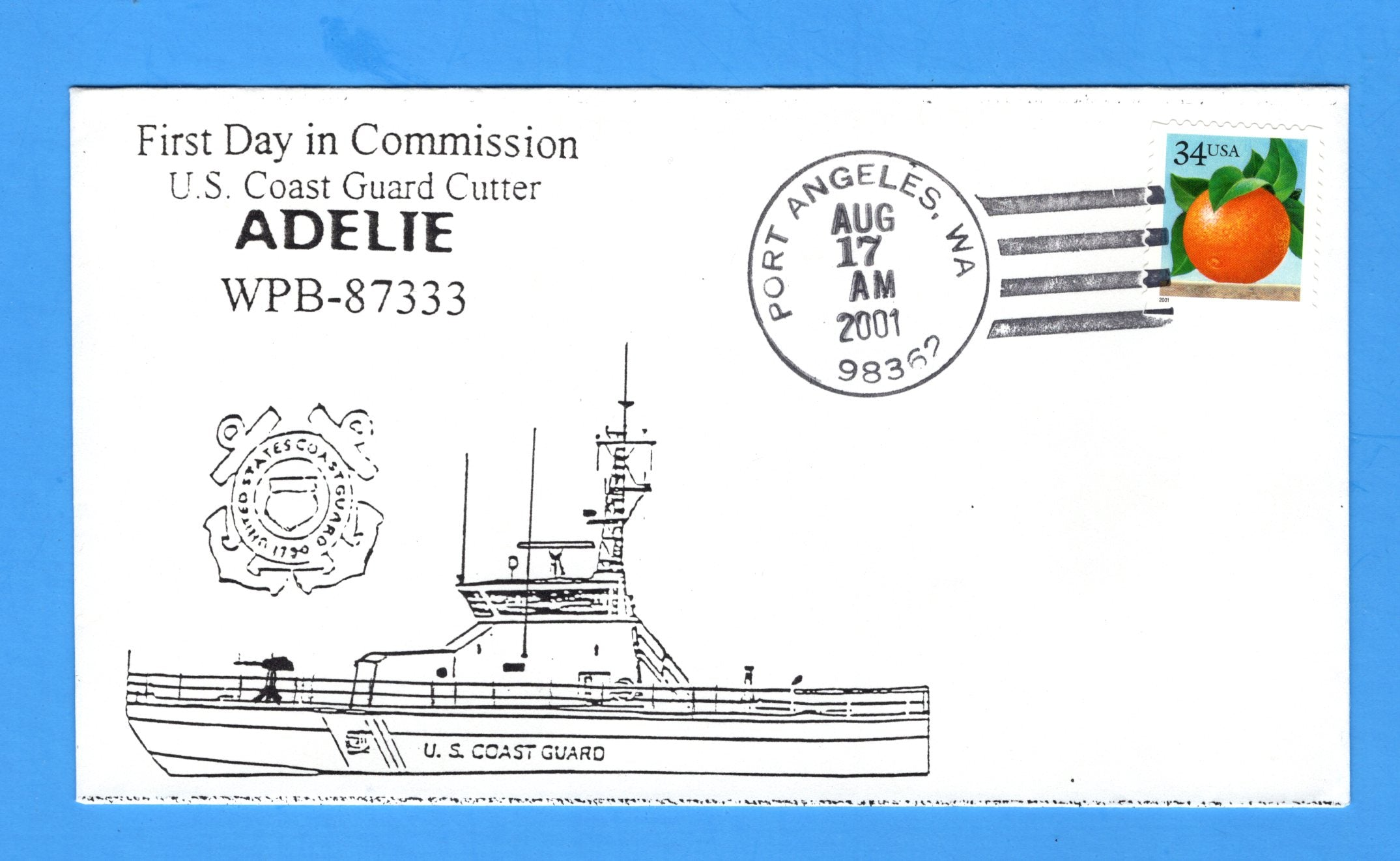 USCGC Adelie WPB-87333 First Day in Commission August 17, 2001 - Cachet by Bill Everett