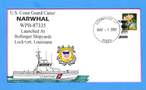 USCGC Narwhal WPB-87335 Launched May 1, 2001 - Hand Drawn and Colored Cachet by Bill Everett
