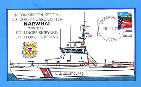 USCGC Narwhal WPB-87335 In Commission, Special July 10, 2001 - Hand Drawn and Colored Cachet by Bill Everett