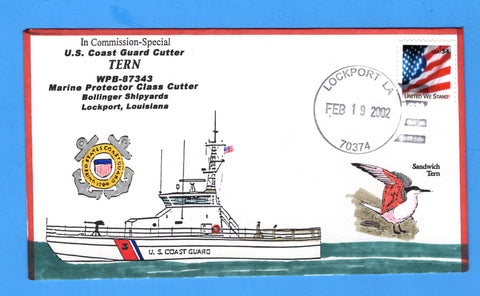USCGC Tern WPB-87343 In Commission, Special February 19, 2002 - Hand Drawn and Colored Cachet by Bill Everett