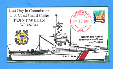 USCGC Point Wells WPB-82343 Last Day in Commission October 13, 2000 - Hand Drawn and Colored Cachet by Bill Everett