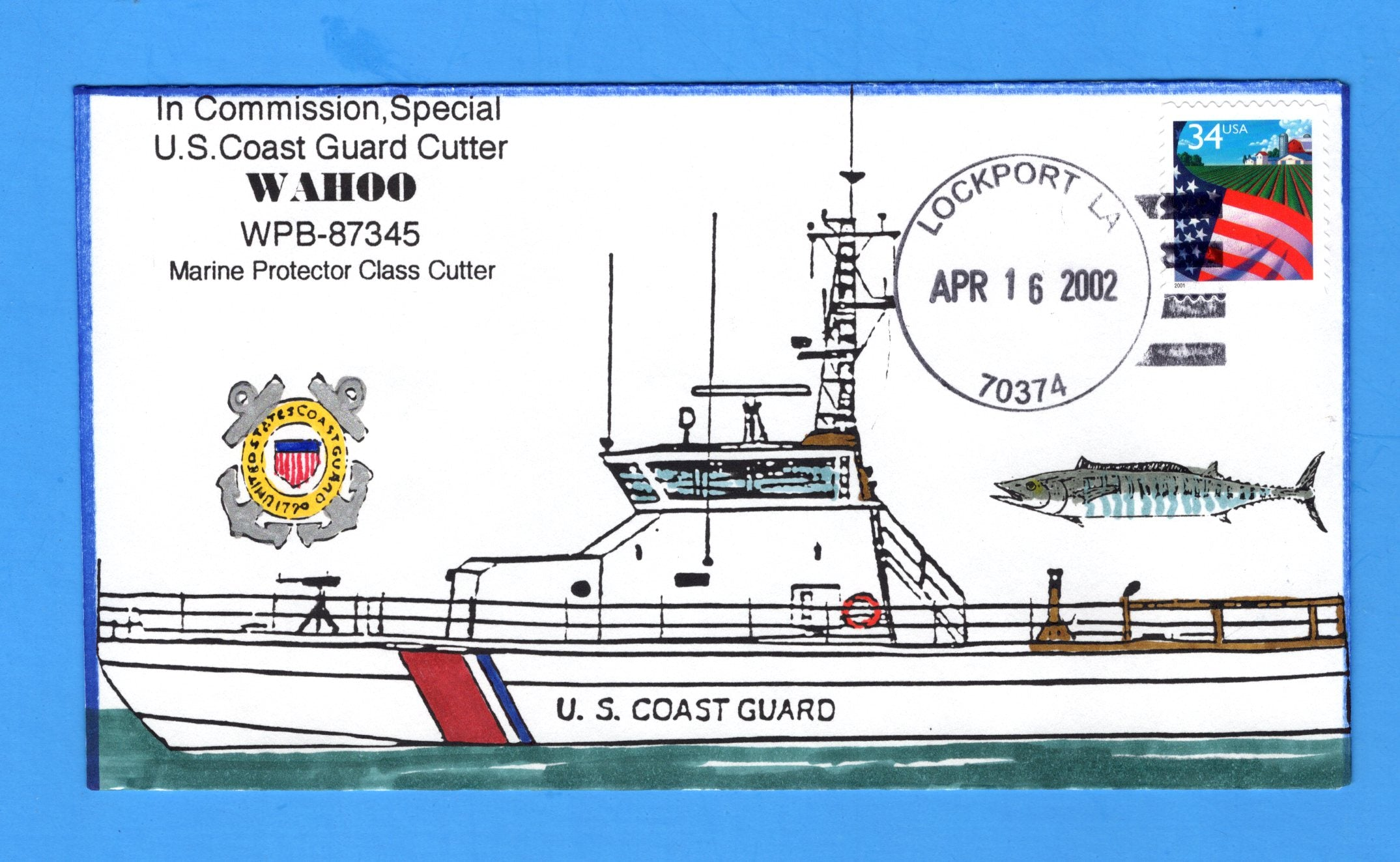 USCGC Wahoo WPB-87345 in Commission, Special April 16, 2002 - Hand Drawn and Colored Cachet by Bill Everett