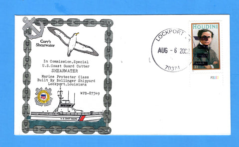 USCGC Shearwater WPB-87349 In Commission Special August 6, 2002 - Hand Drawn and Colored Cachet by Bill Everett
