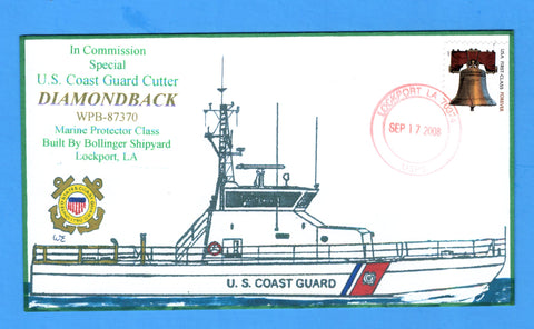 USCGC Diamondback WPB-87370 In Commission Special September 17, 2008 - Hand Drawn and Colored Cachet by Bill Everett