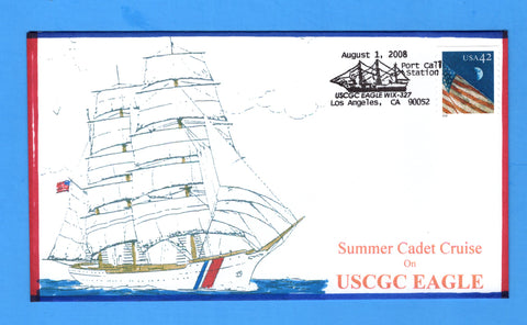 USCGC Eagle WIX-327 Summer Cadet Cruise Los Angeles August 1, 2008 - Bill Everett Cachet