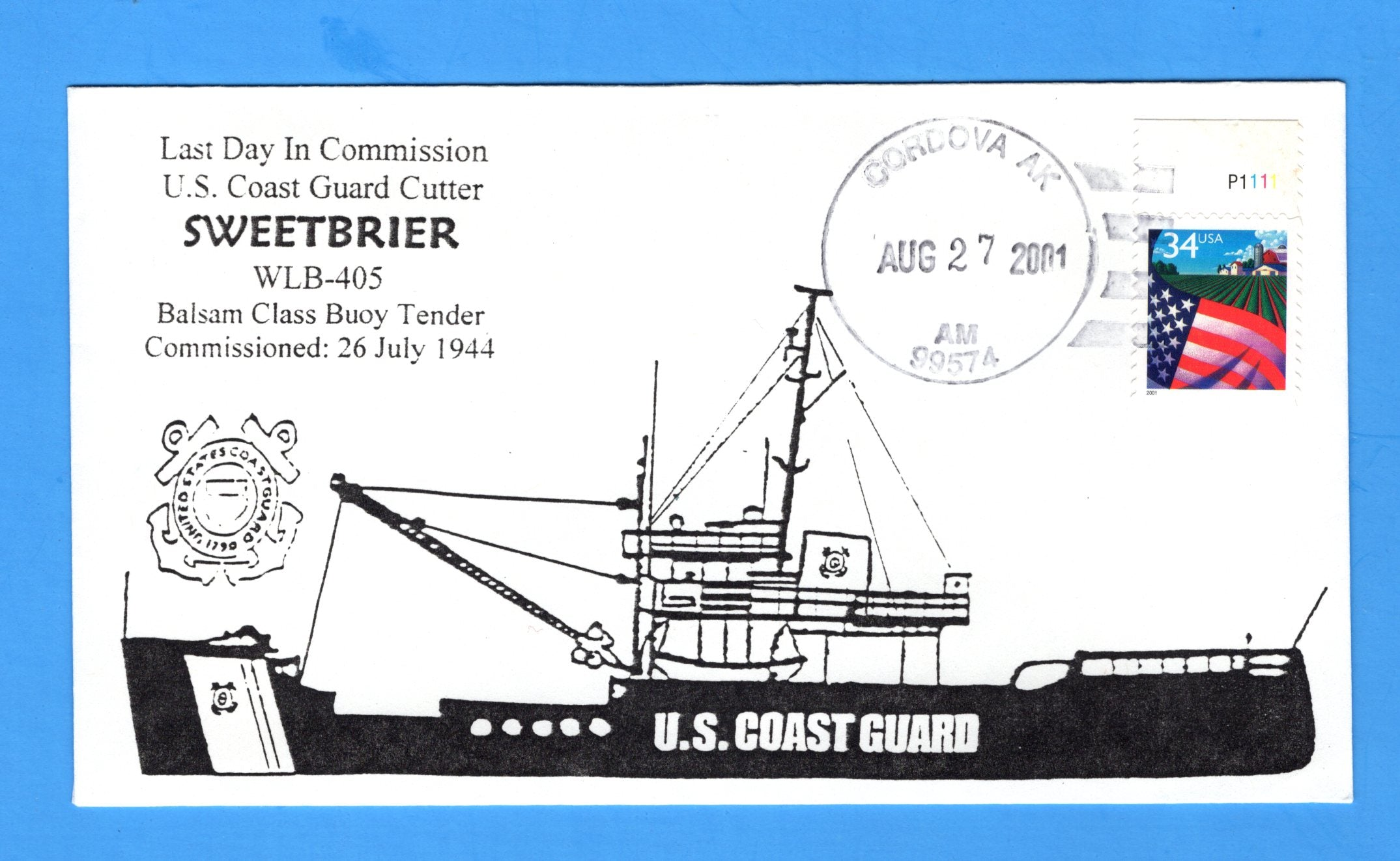 USCGC Sweetbrier WLB-405 Last Day in Commission August 27, 2001 - Hand Drawn and Colored Cachet by Bill Everett