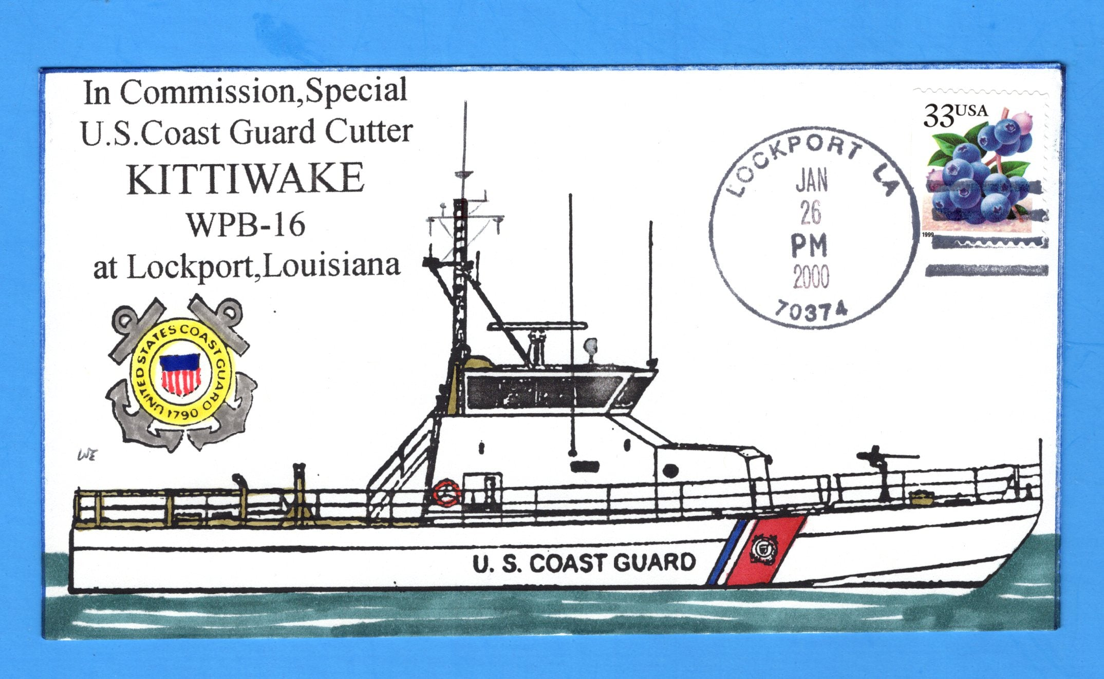 USCGC Kittiwake WPB-16 In Commission Special January 26, 2000 - Hand Drawn and Colored Cachet by Bill Everett