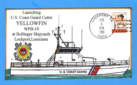 USCGC Yellowfin WPB-19 Launched February 8, 2000 - Hand Drawn and Colored Cachet by Bill Everett