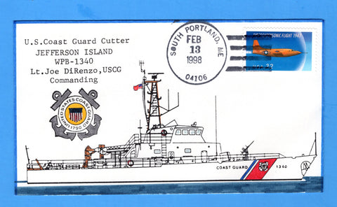 USCGC Jefferson Island WPB-1340 February 13, 1998 - Hand Drawn and Colored Cachet by Bill Everett
