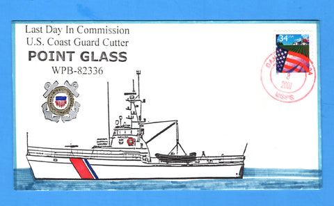 USCGC Point Glass WPB-82336 Last Day in Commission April 3, 2001 - Hand Drawn and Colored Cachet by Bill Everett