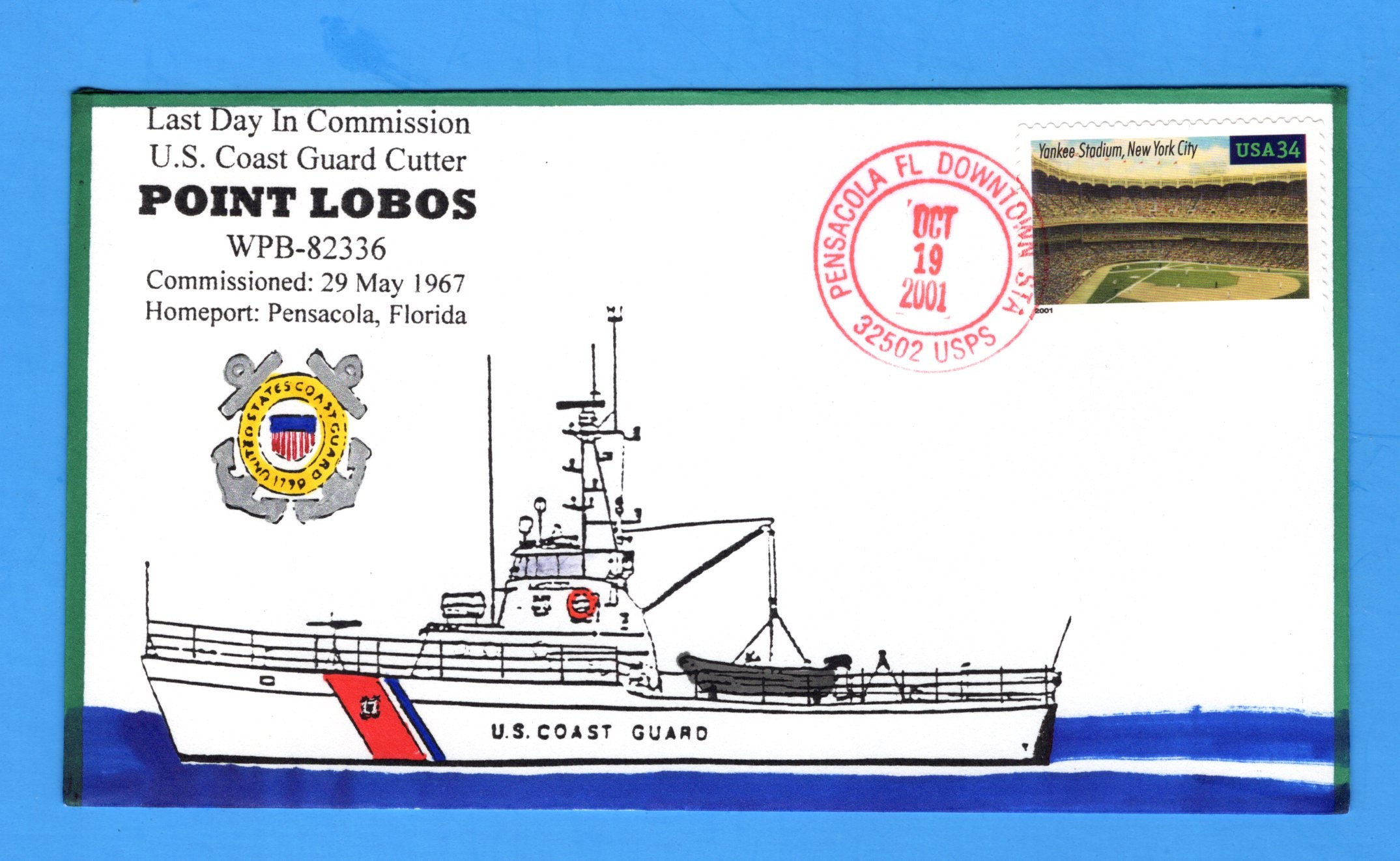 USCGC Point Lobos WPB-82336 Last Day in Commission October 19, 2001 - Hand Drawn and Colored Cachet by Bill Everett