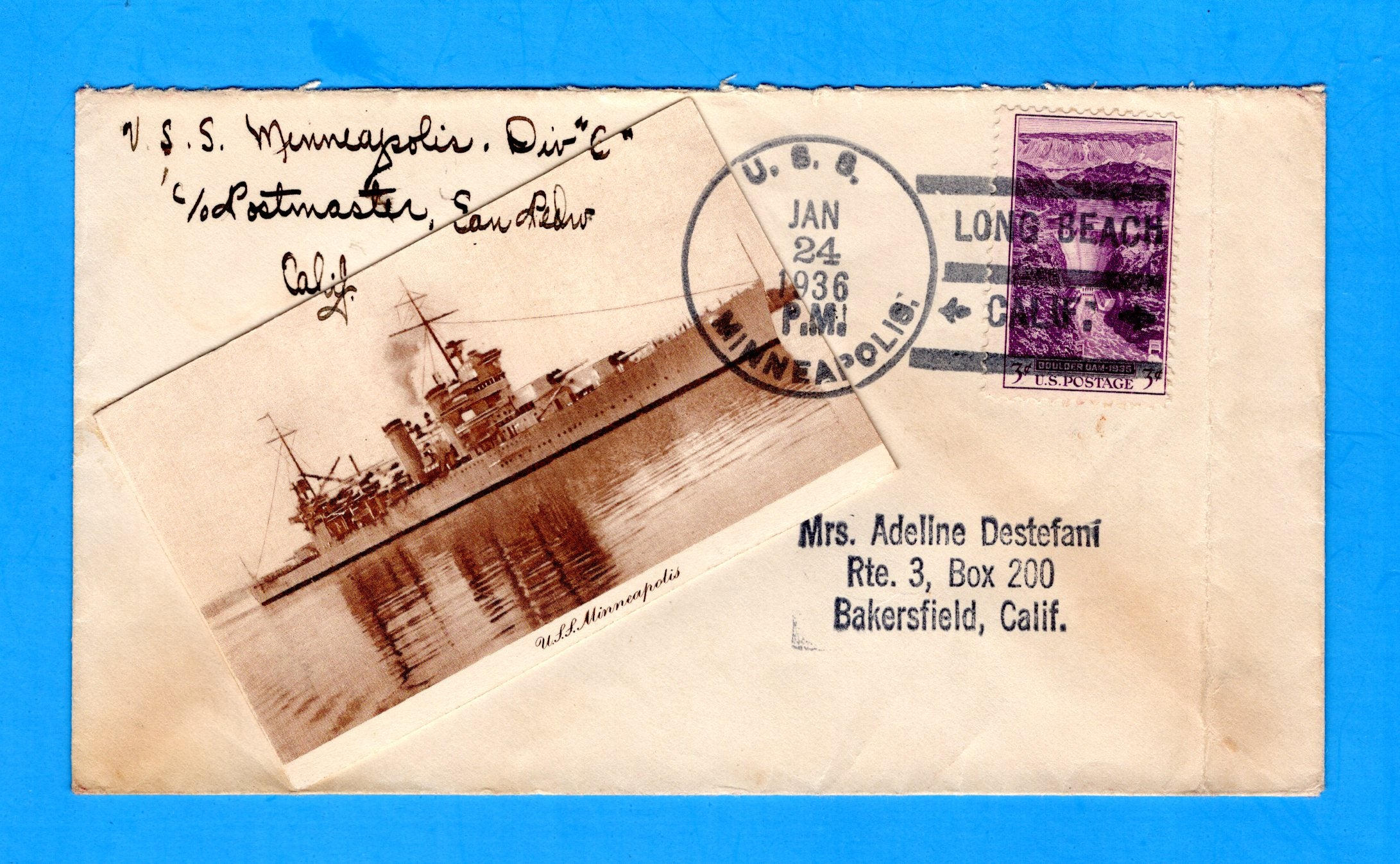 USS Minneapolis CA-36 January 24, 1936 - Added Photograph of the Minneapolis - Opened at Top