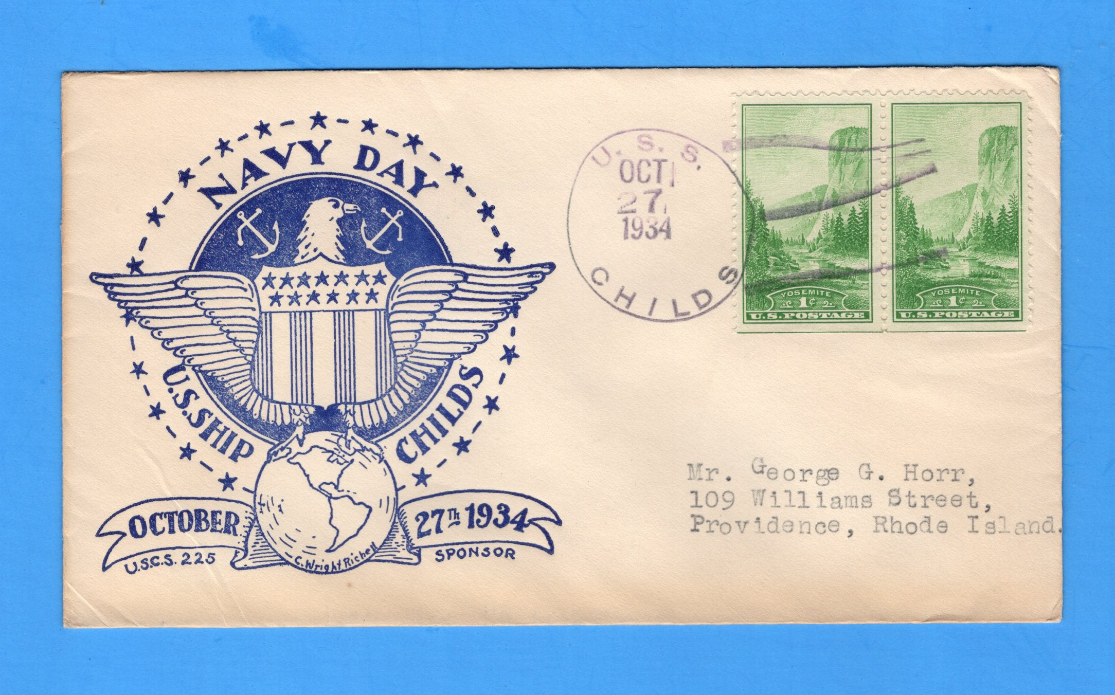 USS Childs DD-241 Navy Day October 27, 1934