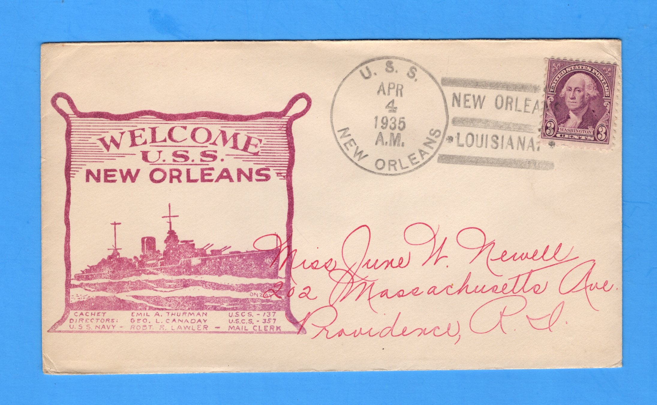 USS New Orleans CA-32 Welcome to New Orleans, Louisiana April 4, 1935