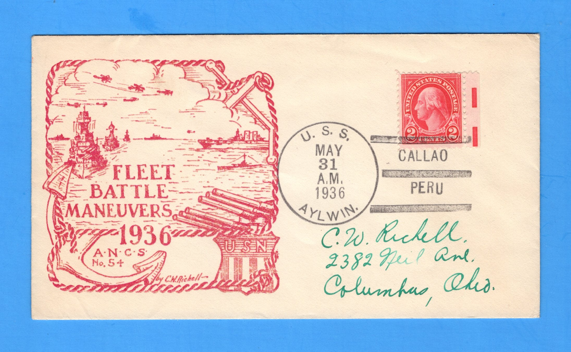 USS Aylwin DD-355 Fleet Battle Maneuvers Callao, Peru May 31, 1936 - Raised Print Cachet