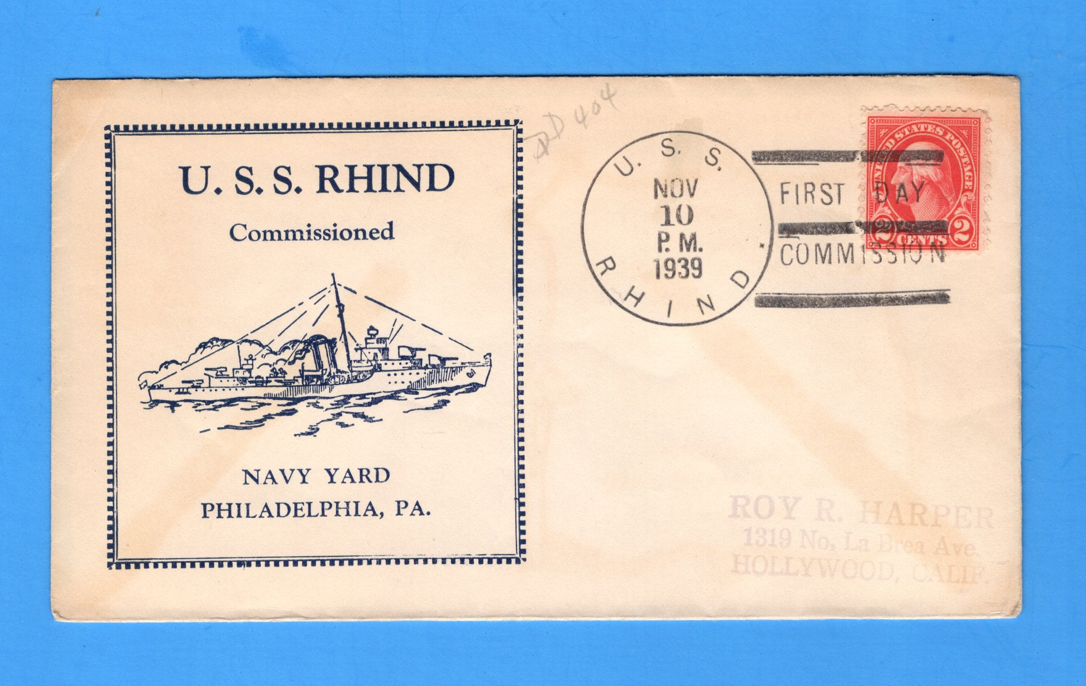 USS Rhind DD-404 Commissioned November 10, 1939