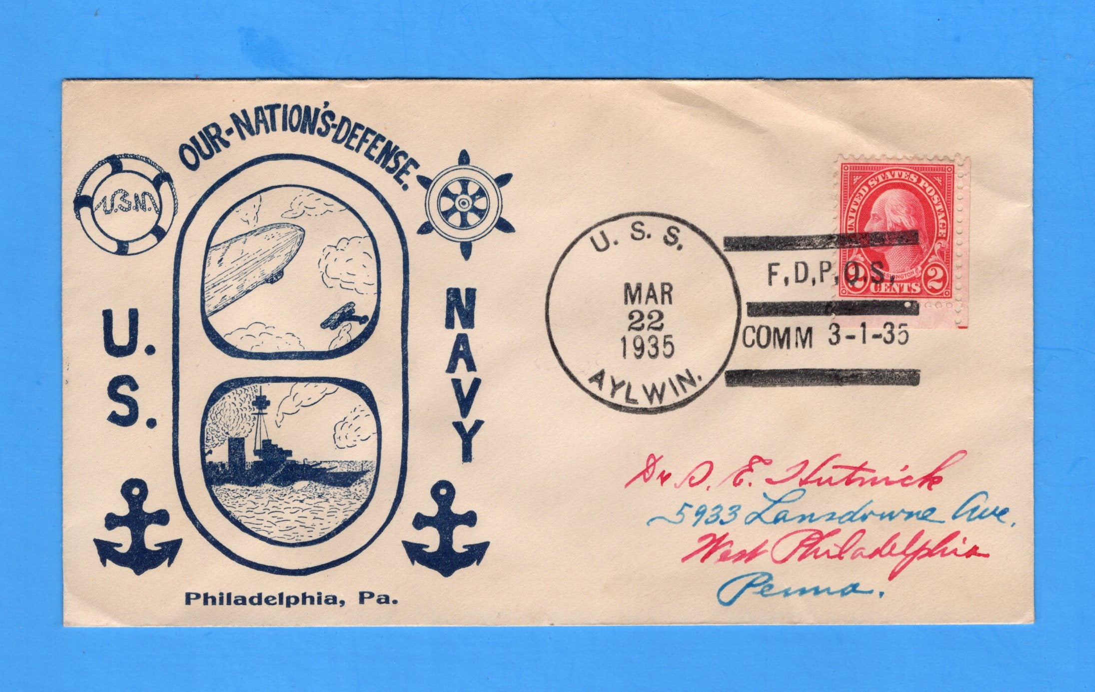 USS Aylwin DD-355 First Day Postal Service March 22, 1935