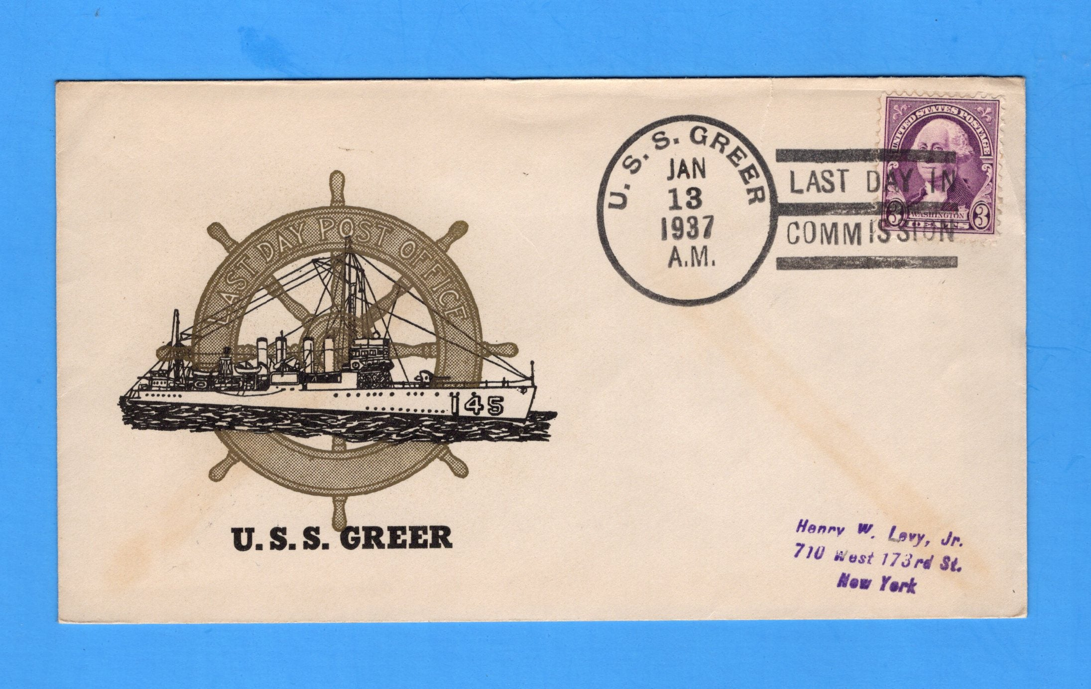 USS Greer DD-145 Decommissioned January 13, 1937