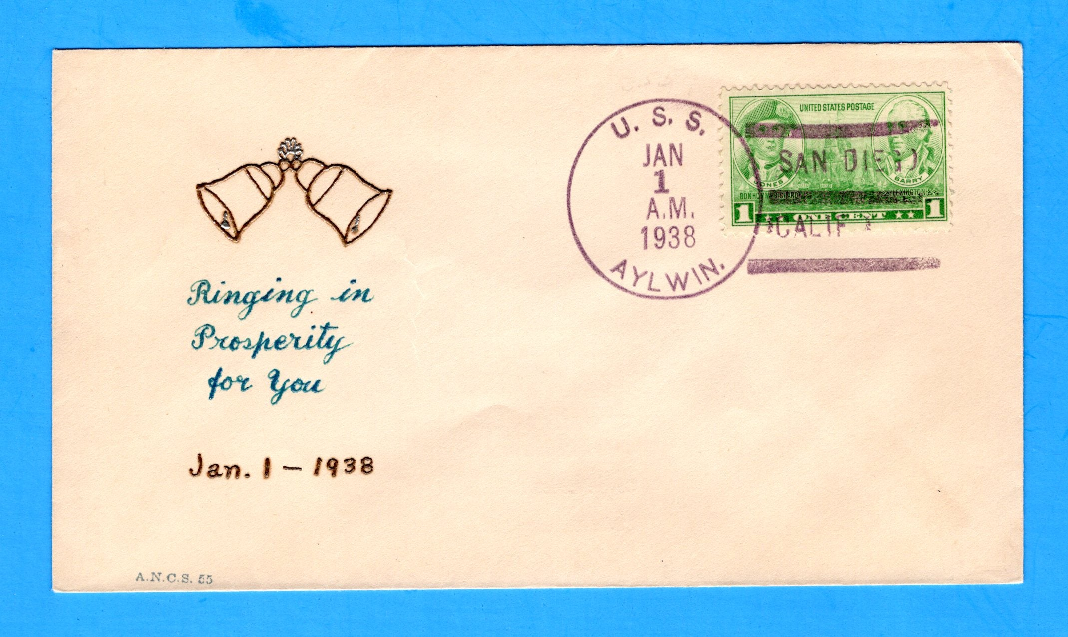 USS Aylwin DD-355 New Year's Day January 1, 1938 - Raised Print William Linto Cachet