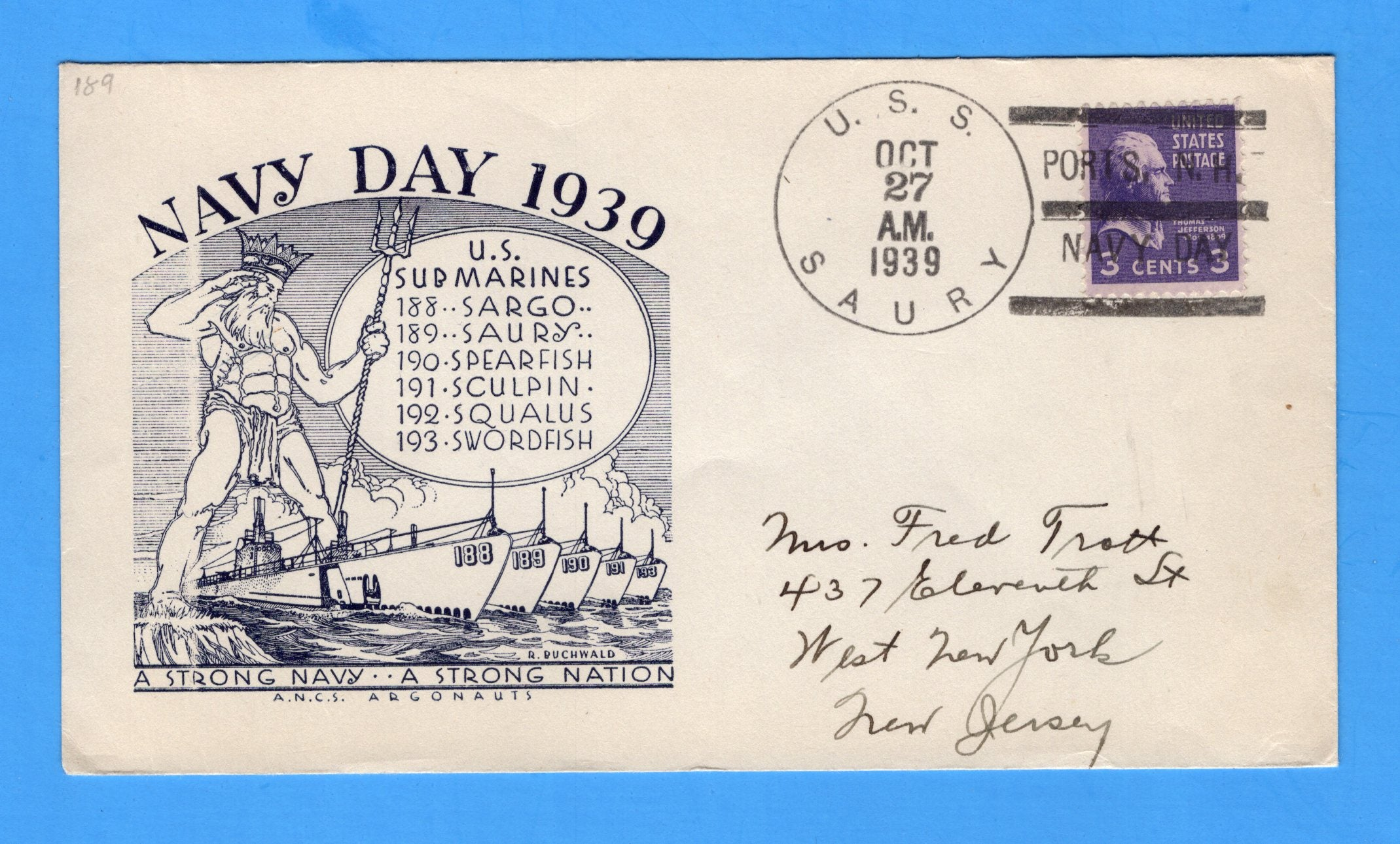 USS Saury SS-189 Navy Day October 27, 1939