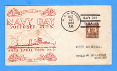 USS Greer DD-145 Navy Day October 27, 1936 - Raised Print Cachet