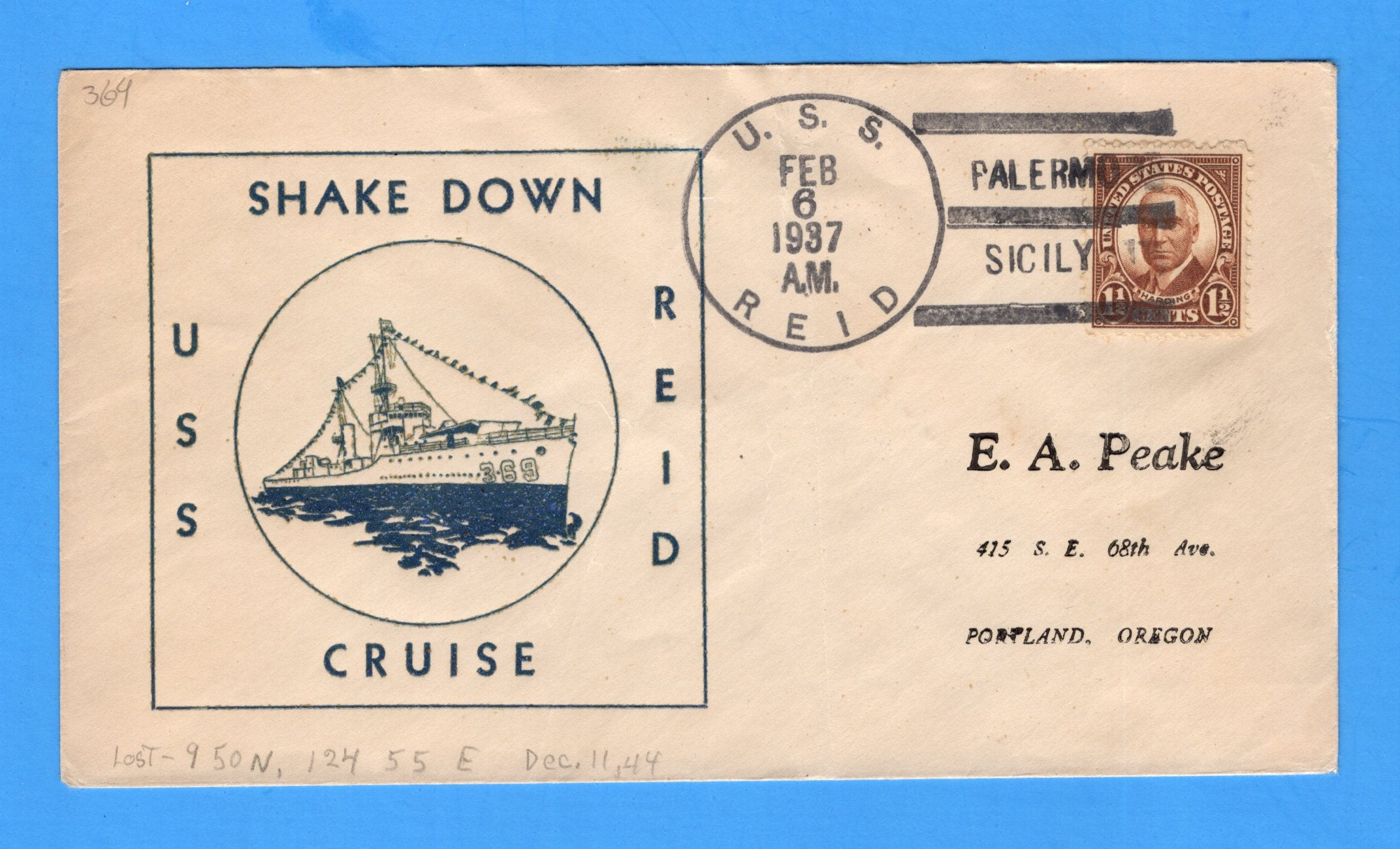 USS Reid DD-369 (Sunk by kamikazes, 11 December 1944) Shakedown Cruise Palermo, Italy February 6, 1937 - Raised Print Cachet
