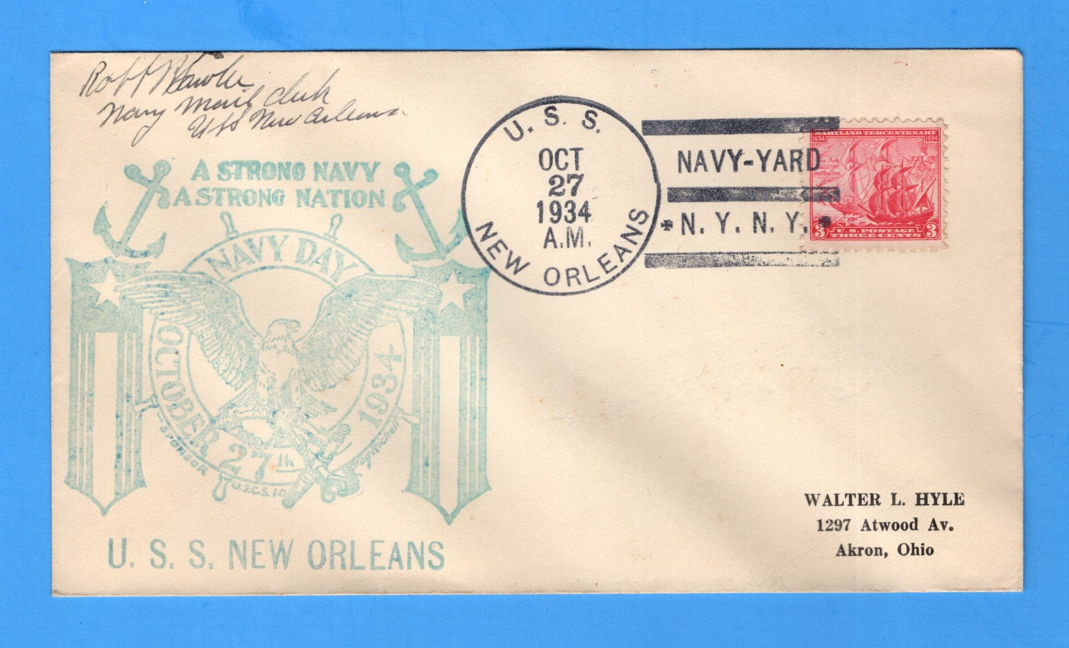 USS New Orleans CA-32 Navy Day October 27, 1934