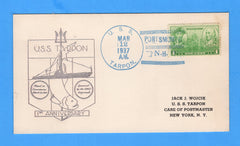 USS Tarpon SS-175 1st Anniversary of Commission March 12, 1937 - Raised Print Cachet on Card