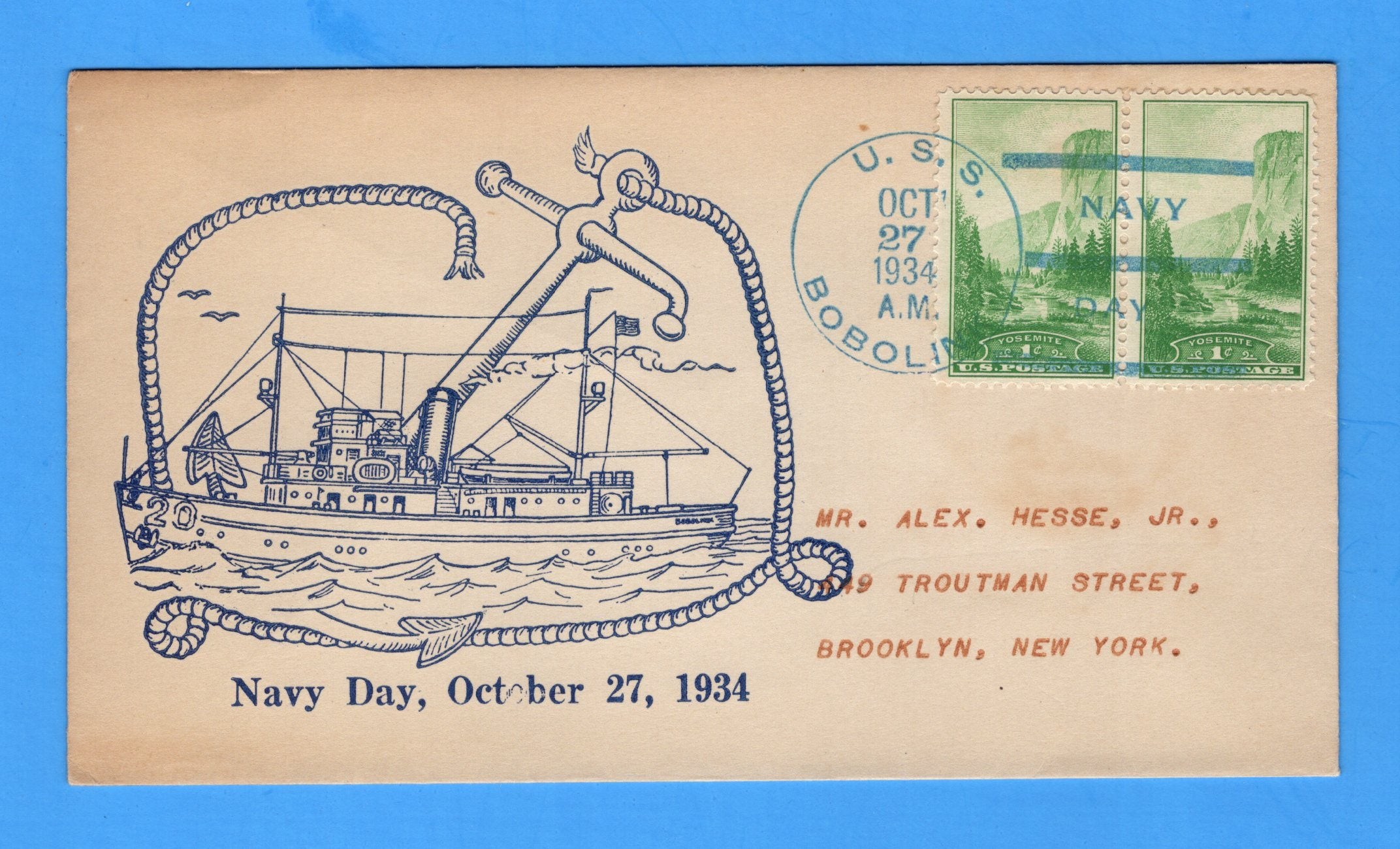 USS Bobolink AM-20 Navy Day October 27, 1934