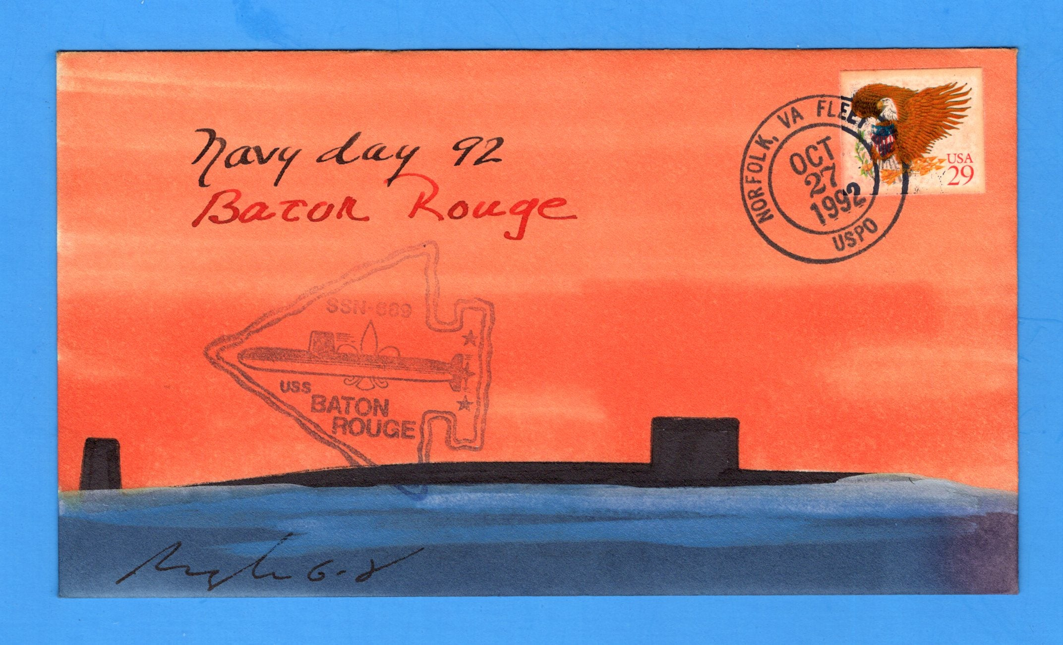USS Baton Rouge SSN-689 Navy Day October 27, 1992 - Rogak Hand Painted Cachet